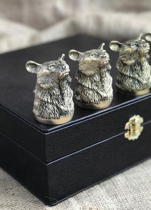 Набор бронзовых чарок Nb Art Медведь 4 шт 480028