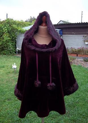 50 / 52 р  george велюрово флисовый пончо манто свитер кофта