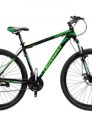 "CrossBike Велосипед CrossBike Leader 29"" 21"" Черный-Зеленый"