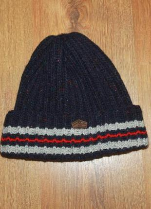 Теплая шапка superdry синяя шерсть