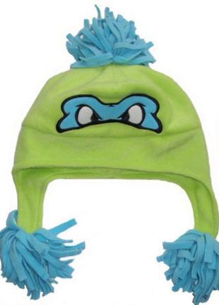 Классная флисовая шапка теплая для мальчика подростковая ниндз...