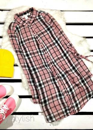 Удлиненная рубашка в клетку актуального рогозового цвета