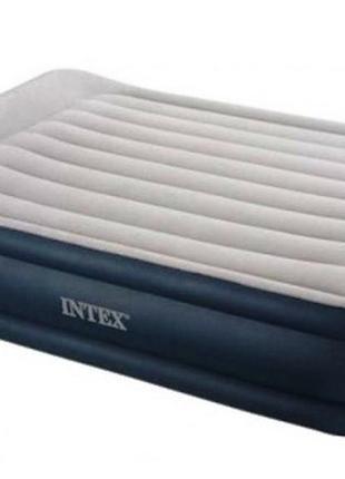 Надувная кровать двуспальная велюровая Intex 64136 с электрона...