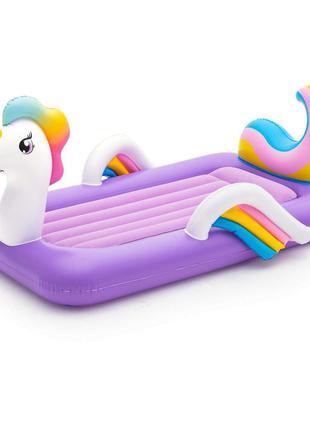 Детская надувная велюр-кровать Bestway Единорог 67713