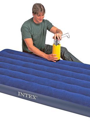 Надувной велюровый матрас Intex 68757 одноместный (191*99* 22 см)