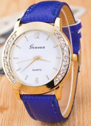 Часы Женева Geneva Полукруг синий ремешок