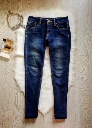 Теплые на флисе синие джинсы скинни узкачи зимние утепленные б...