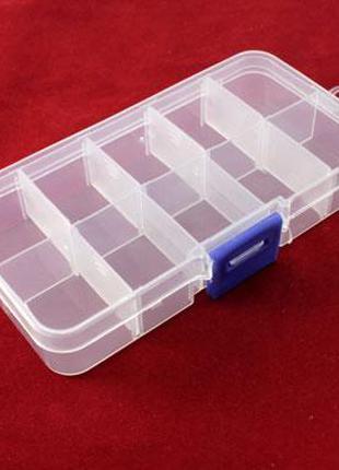 Коробка органайзер кейс бокс для снастей бисера 12.5х6.3см 10 ...