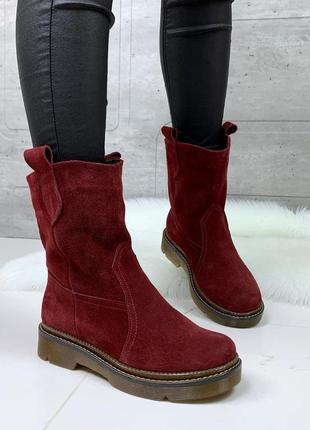 ❤ женские бордовые зимние замшевые ботинки сапоги полусапожки ...