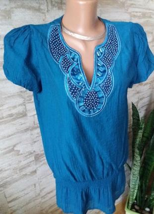 Эксклюзивная блузка расшитая бисером и камнями