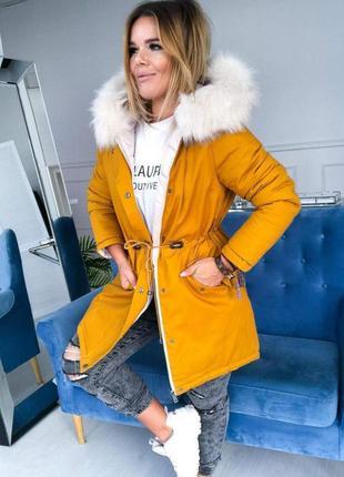 Зимняя женская куртка парка удлиненная на силиконе, капюшон с ...