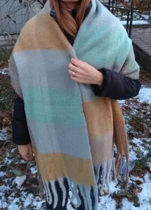 Новый теплый плюшевый шарф плед зефирка 220 на 40 см
