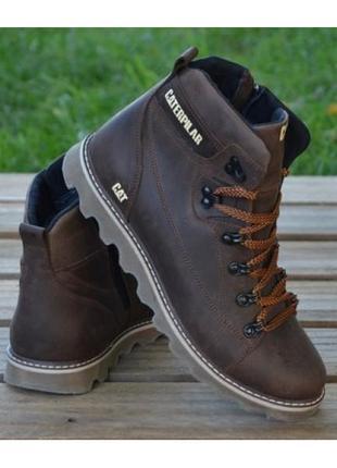 Мужские кожаные зимние ботинки коричневые