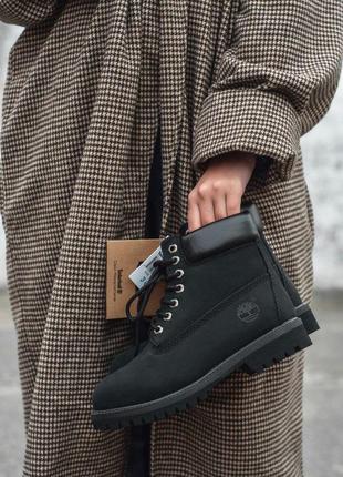 Шикарные женские зимние ботинки timberland black fur 😍 (на меху)