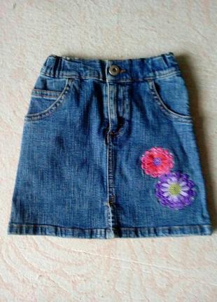 Юбка джинсовая для девочки с вышивкой