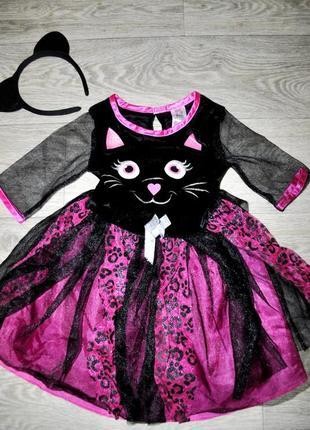 Платье f&f розово черное контрастное кошка новый год хеллоуин
