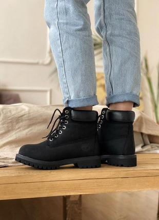 Шикарные осенние ботинки timberland 6 inch premium black унисе...