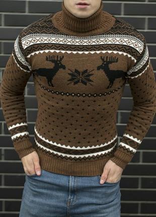 Мужской свитер с оленями новогодний свитер подарок мужу тёплый