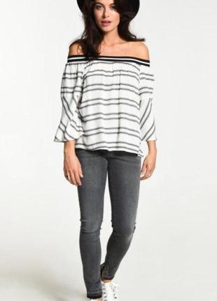 Крутая блуза блузка в полоску  топ eksept
