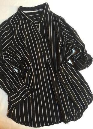 Рубашка блуза блузка туника в полоску черно белая etam