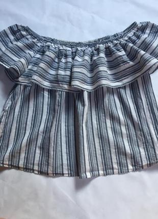 Блузка с открытыми плечами с рюшами волан блуза new look