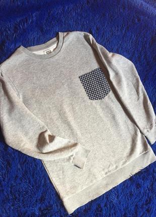 Свитшот тёплый свитер кофта серый меланж  худди пуловер weekda...