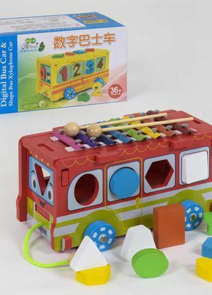 Деревянная игра Автобус С 39261 (18) в коробке