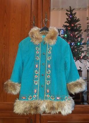 Тулуп вельветовый пальто костюм снегурочки с вышивкой мехом Ma...