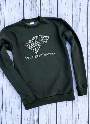"""Мужской утеплённый хаки свитшот с принтом """"Winter is Coming"""""""