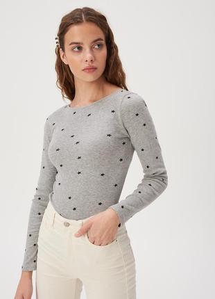Новая базовая облегающая серая кофта лонгслив блузка польша уз...