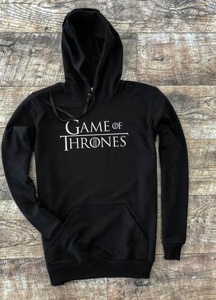 """Мужское утеплённое чёрное худи с принтом """"Game of Thrones"""""""