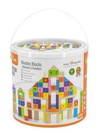 Деревянные кубики Viga Toys Алфавит и числа 100 шт., 3 см (50288)