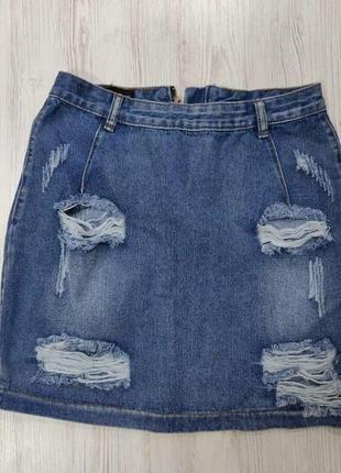 Ликвидация товара 🔥   рваная джинсовая мини юбка синяя