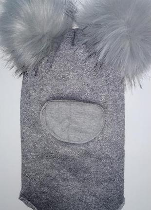 Зимний шлем серого цвета с люрексом