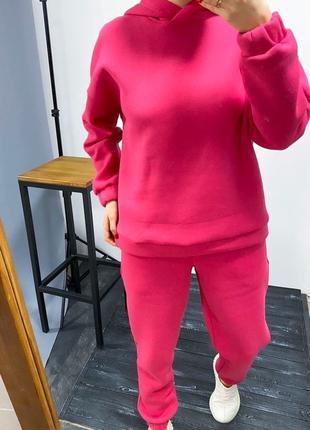 Женский розовый утепленный оверсайз костюм