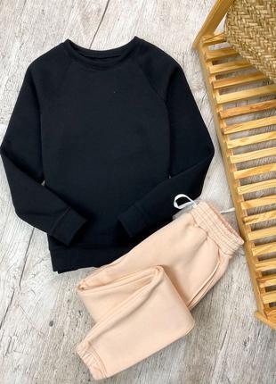 Женский утепленный костюм черный реглан и бежевые штаны