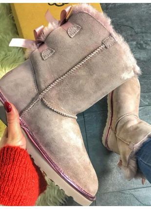 Женские зимние UGG Bailey Bow II 2 Dusk, розовые замшевые сапо...