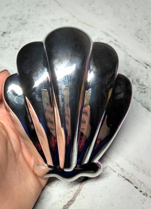 Расческа, щетка для волос Ракушка, серебро