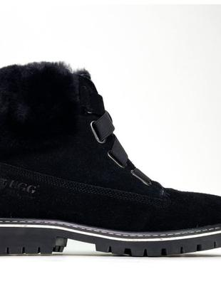 Женские зимние Ugg Boot Fur Black, черные кожаные угги бут жен...