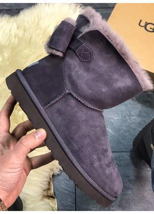 Женские зимние UGG Mini Bailey Bow Violet фиолетовые замшевые ...