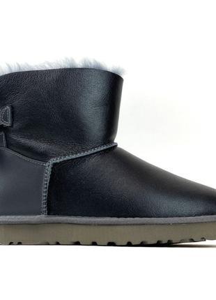 Женские зимние UGG Bailey Bow Mini Gray Leather, серые кожаные...