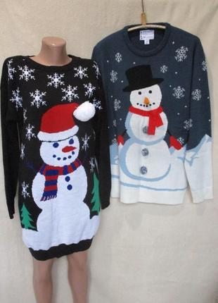 Новогодний свитер-платье типа oversize со снеговиком s m/ см з...