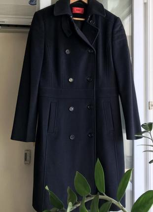 Vip ♥️😎 чёрное шерстяное пальто с кашемиром hugo boss.