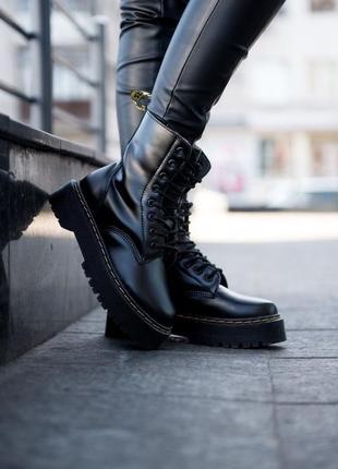 Шикарные женские ботинки dr. martens jadon fur black с мехом зима