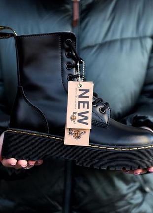 Ботинки dr. martens jadon fur black с мехом зима чёрные мартинс