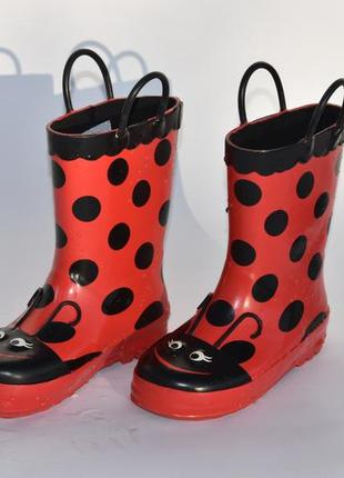 Резиновые сапоги детские красные черные на осень размер 29
