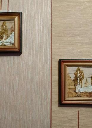 Картина из натуральных материалов и янтаря