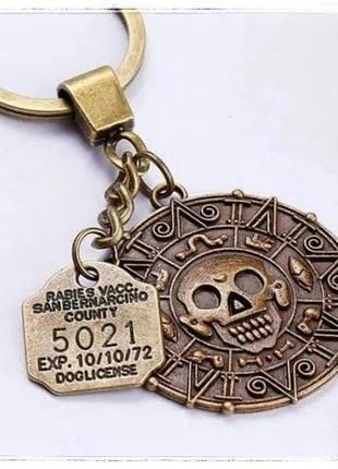 Брелок Пираты Карибского моря Джек Воробей монета ацтеков