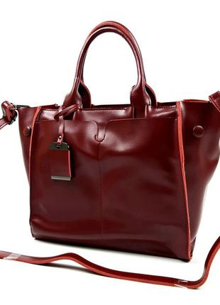 Кожаная женская сумка бордовая, galanty