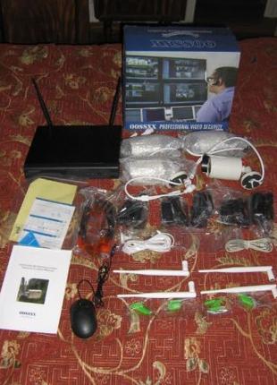 Беспроводной комплект видеонаблюдения 4 камеры OOSSXX IP66 960...